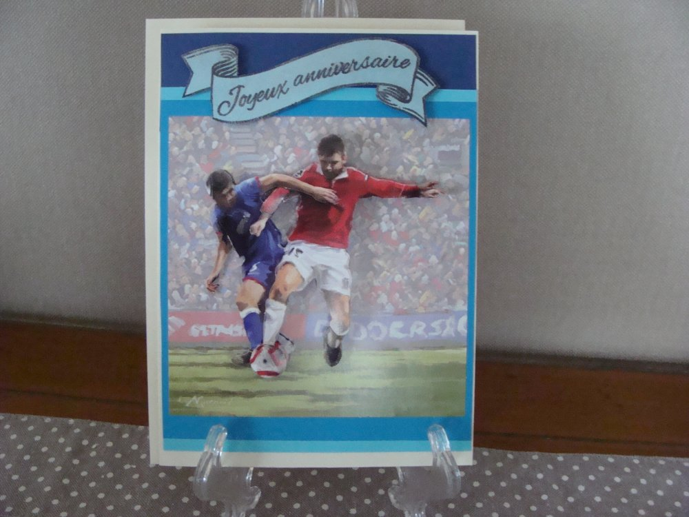 carte homme anniversaire football 3D