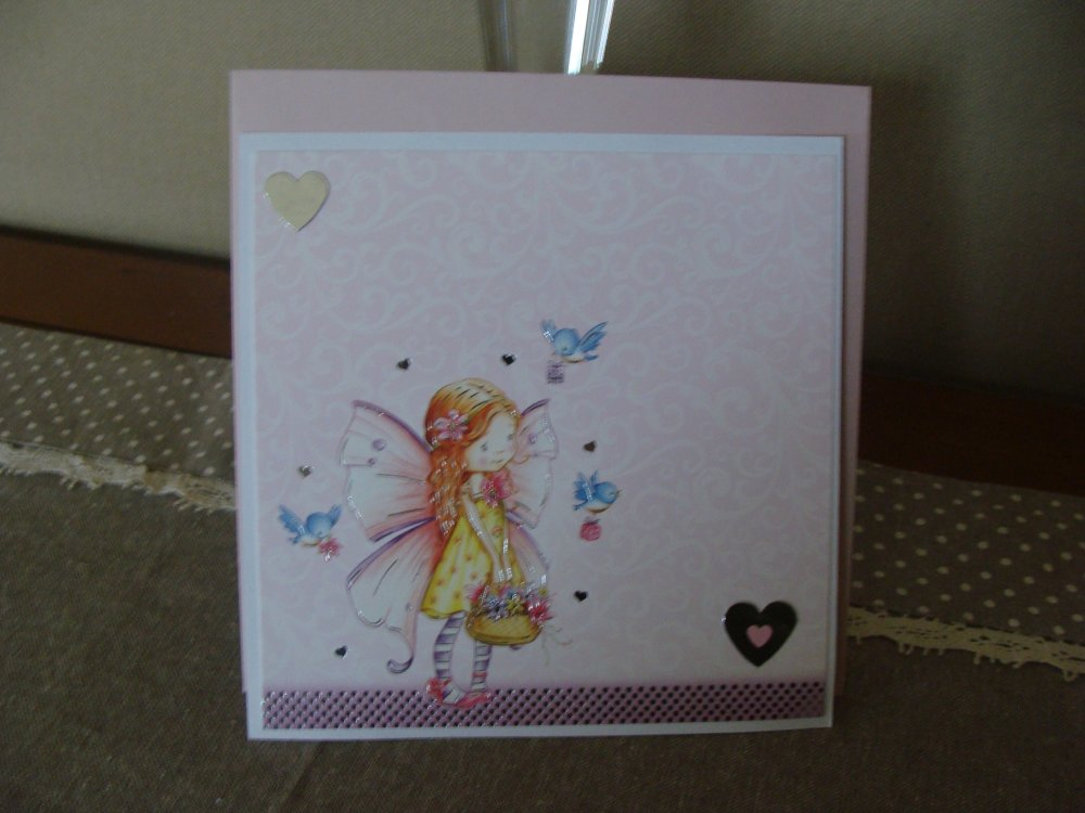carte enfant anniversaire ou autre tons rose argent brillant