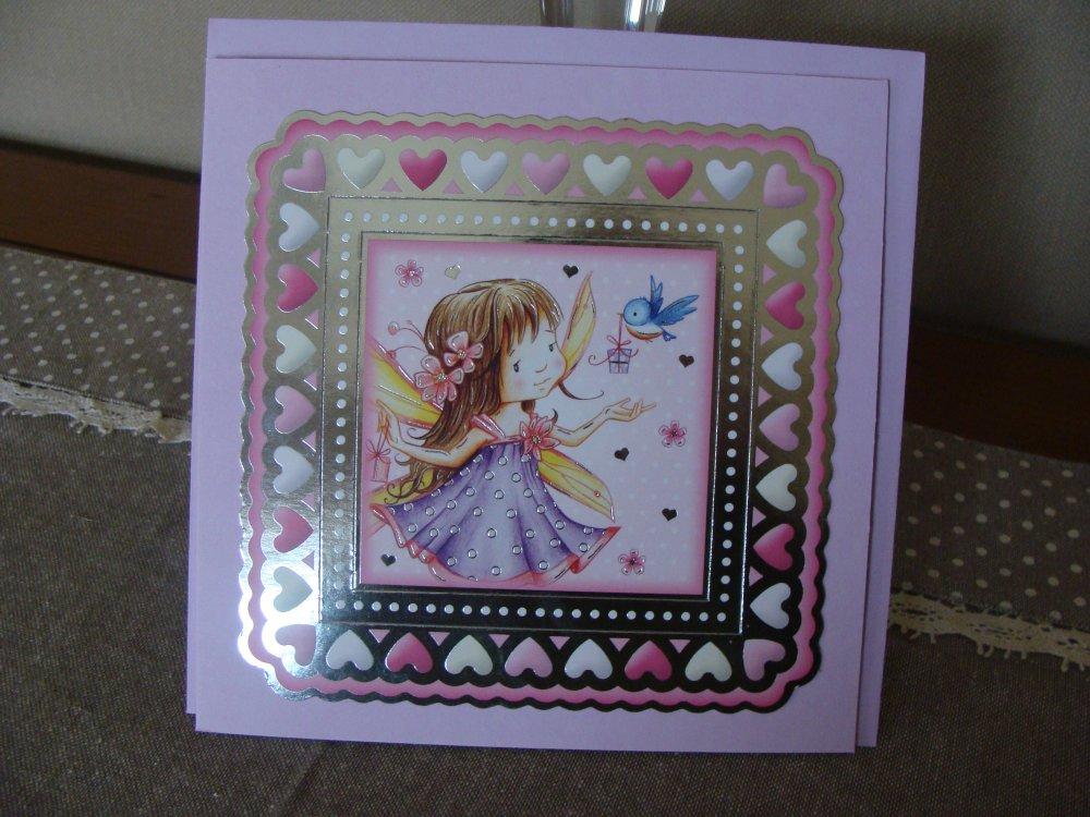 carte anniversaire - autre occasion - fée -tons parme/rose/argent brillant