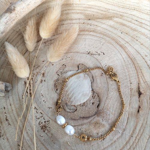 Bracelet 2 perles d'eau douce