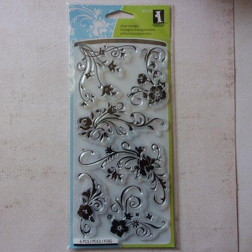 Tampon clear inkadinkado scrapbooking arabesque swirl vintage décoration fleurs floral