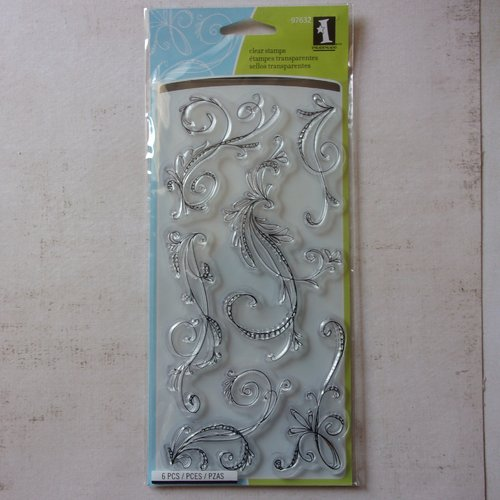 Tampon clear inkadinkado scrapbooking vintage swirl arabesque doodles