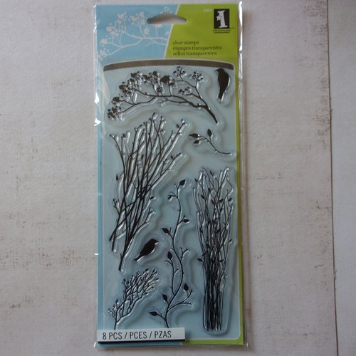 Tampon clear inkadinkado scrapbooking nature branche feuillages silhouette oiseaux