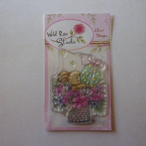 Tampon clear wild rose studio scrapbooking panier bouquet de fleurs animaux lapin printemps œuf pâques