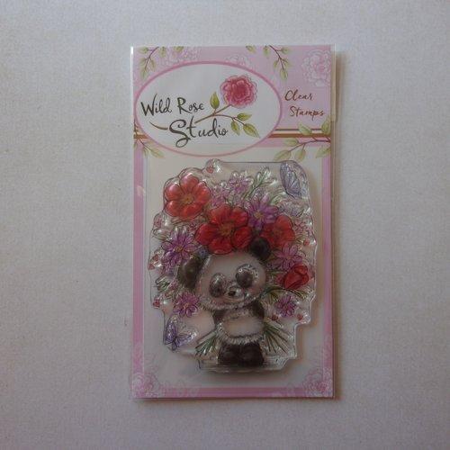 Tampon clear wild rose studio scrapbooking animal animaux ours panda bouquet de fleurs