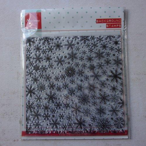 Tampon clear acrylique marianne design décoration scrapbooking grand fond carré 14 cm hiver noël flocon de neige
