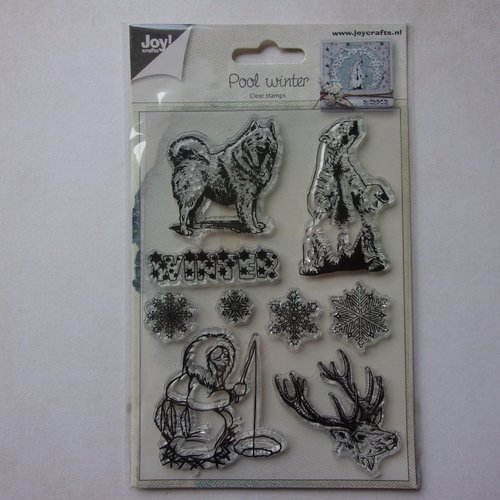 Tampon clear acrylique joy crafts décoration scrapbooking animaux hiver esquimau renne ours