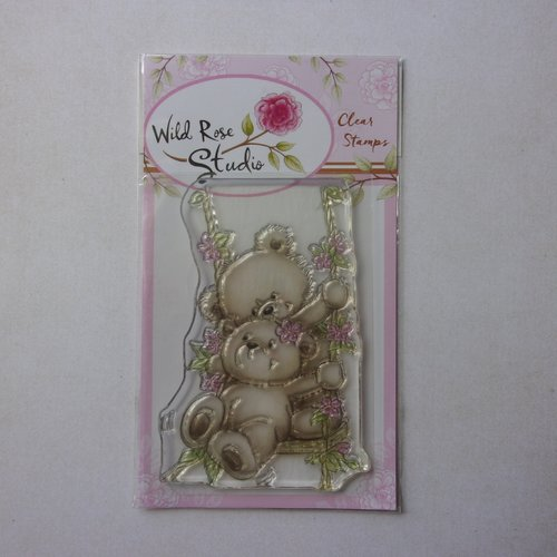 Tampon clear wild rose studio scrapbooking animal animaux ours ourson balançoire