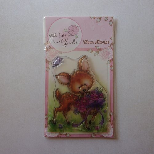 Tampon clear wild rose studio scrapbooking animal animaux forêt biche faon panier de fleurs