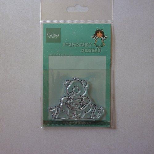 Tampon clear acrylique marianne design décoration scrapbooking animaux petit ours gourmandise fruit pastèque