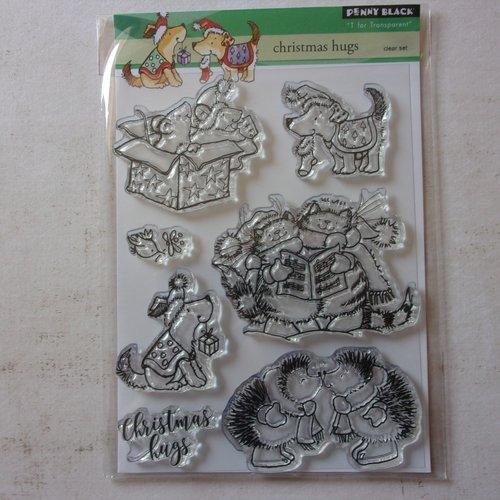 Tampon clear acrylique penny black décoration scrapbooking fête noël animaux animal hérisson chat chien