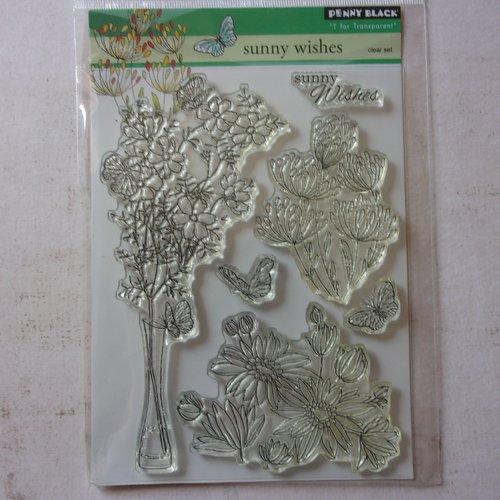 Tampon clear acrylique penny black décoration scrapbooking nature floral bouquet de fleurs papillon