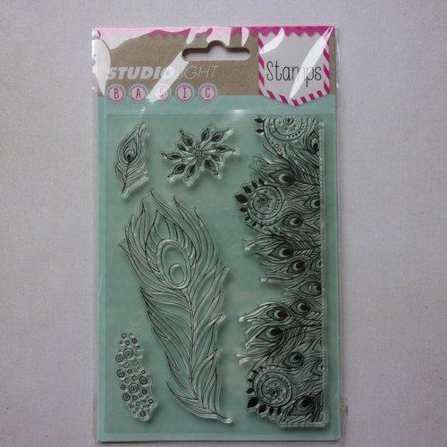 Tampon clear acrylique studiolight décoration scrapbooking oiseau plume de paon