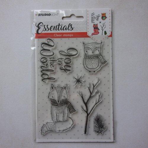Tampon clear acrylique studiolight décoration scrapbooking hiver automne animaux hibou renard
