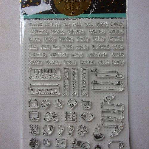 Tampon clear acrylique studiolight décoration scrapbooking bullet journal planner journal mots mini motifs