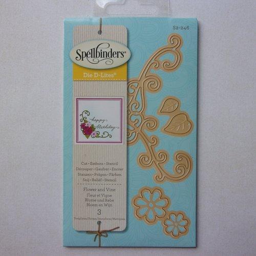 Die découpe matrice en métal pochoir spellbinders scrapbooking coin arabesque et fleurs feuile