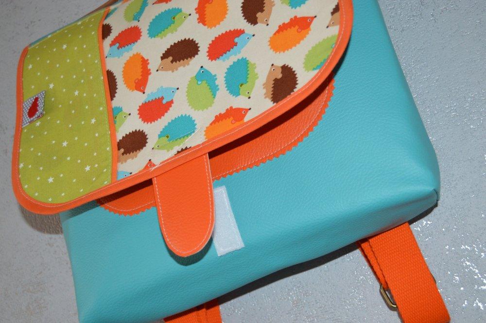 Cartable maternelle Herisson Turquoise Orange