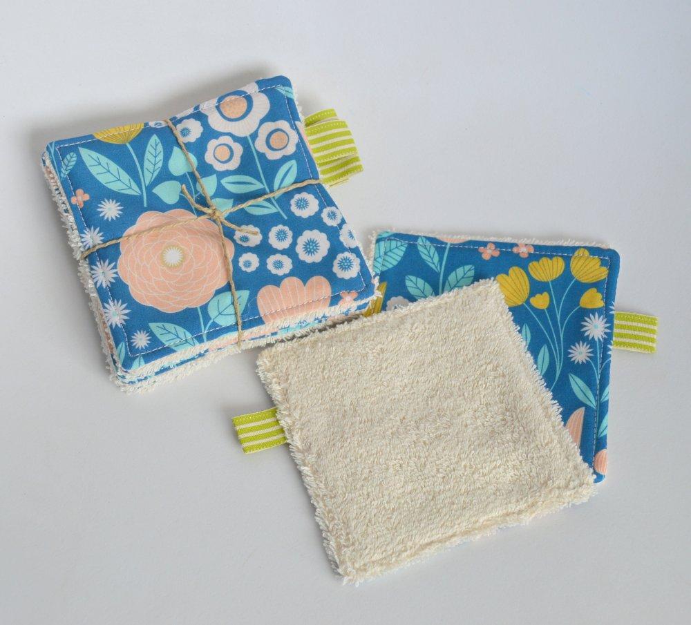 Lingettes 100% Coton biologique Fleurs saumon/bleu