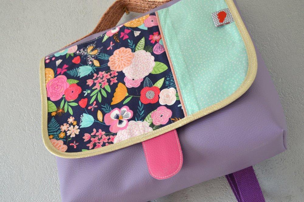 Cartable maternelle Fleuri Simili violet