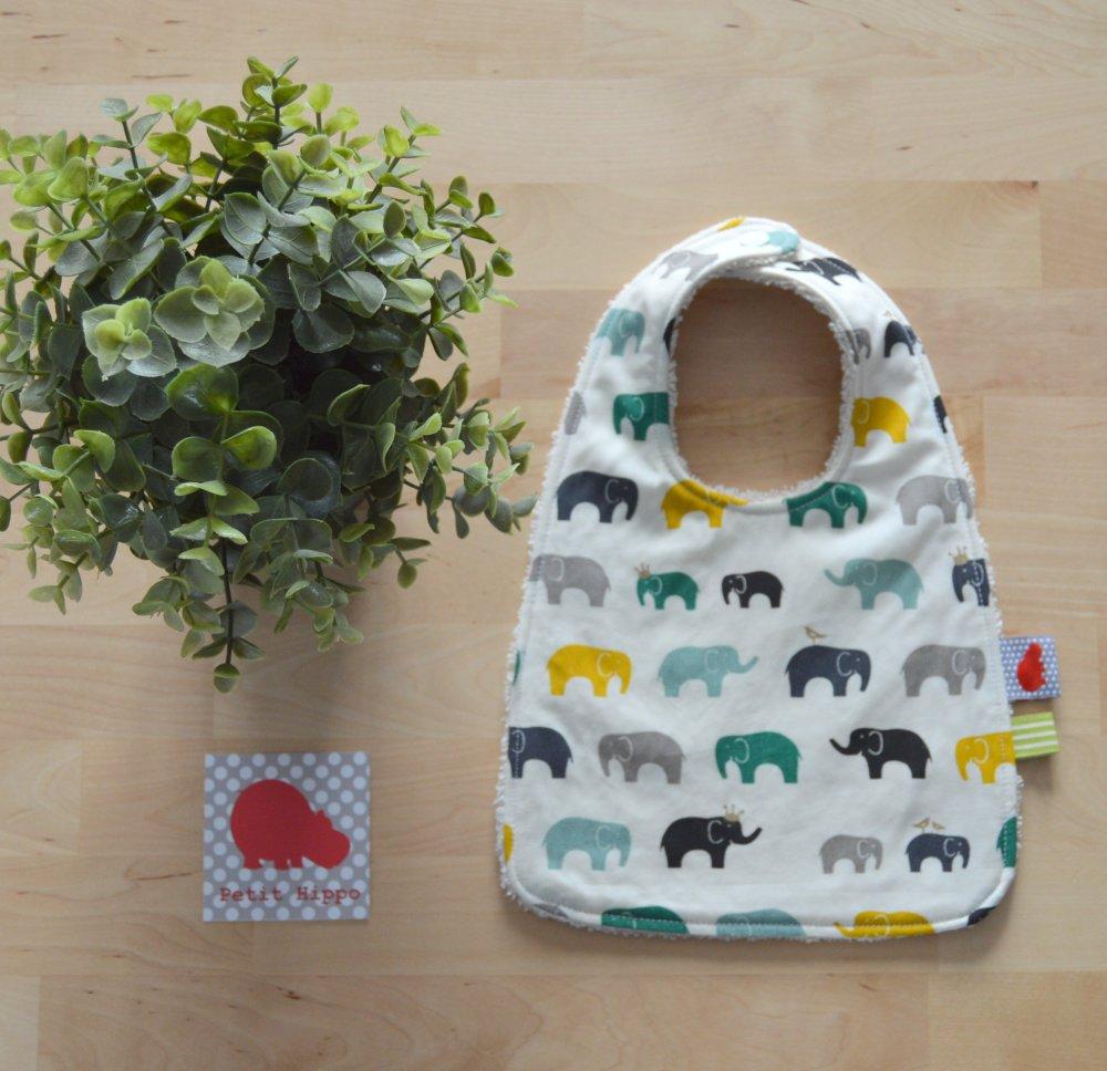 Bavoir 0-6 mois BIO Elephants verts jaunes