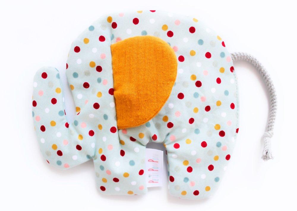 Doudou éléphant plat aux oreilles crépitantes, coton mousseline, Petits pois menthe