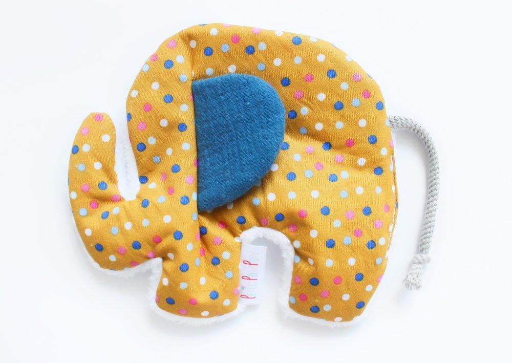 Doudou éléphant plat oreille crépitante, coton mousseline et polaire toute douce, Petits pois moutarde
