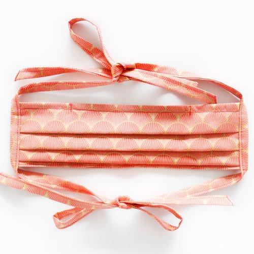 Masque de protection, masque barrière ajustable avec lanières à nouer et barrette métallique art nouveau corail