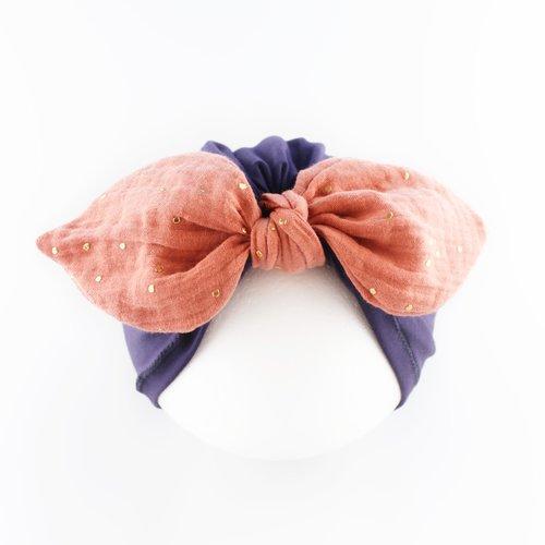 Turban à noeud , bonnet bébé,  jersey mousseline dorée violet marsala