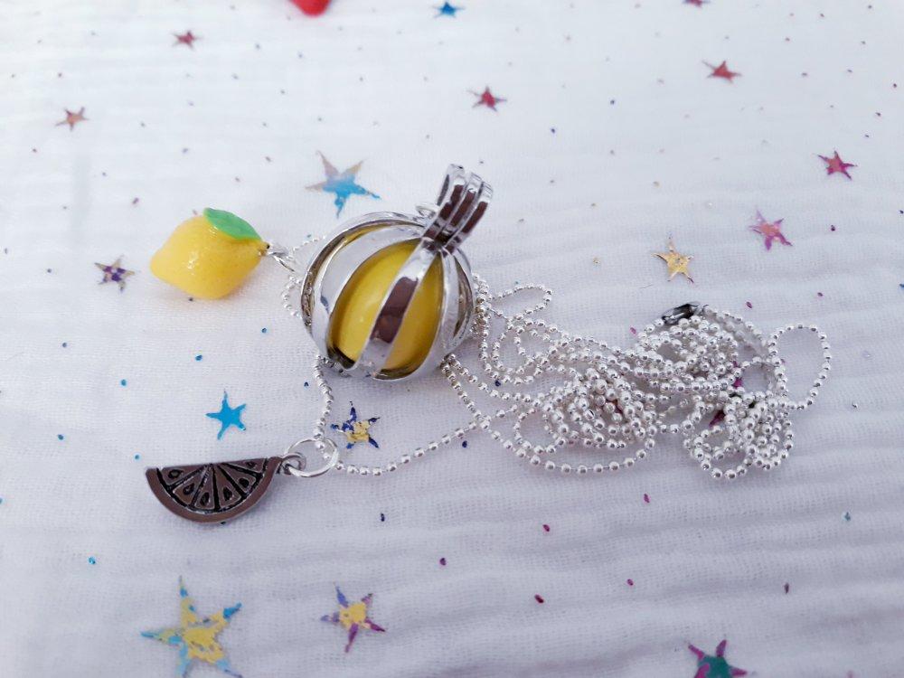 Bola de grossesse Argenté et jaune citron