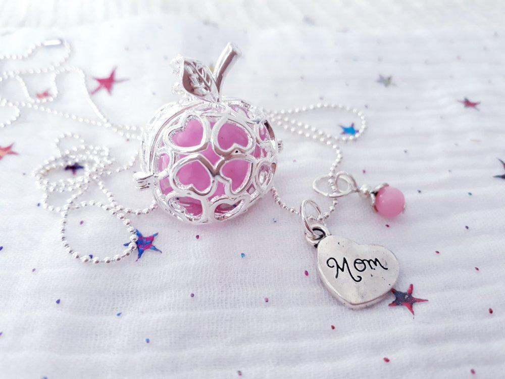Bola de grossesse arbre de vie pomme Argenté et rose