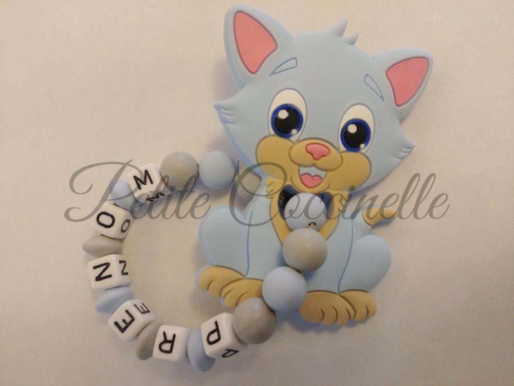 Hochet de dentition silicone chat bleu pastel et gris clair