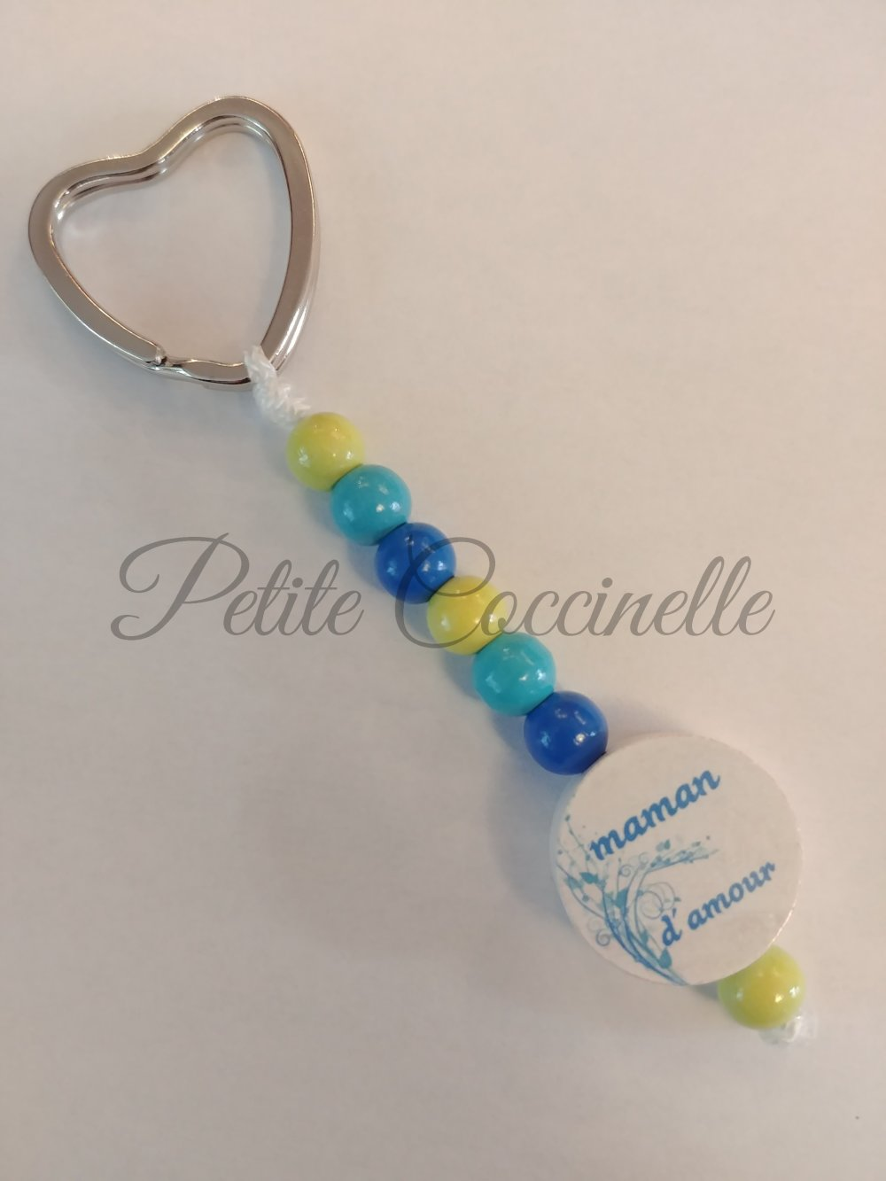 """Porte clefs ou accessoire décoratif """"maman d'amour"""" couleurs a personnaliser, +1 euro par brin PRENOM en plus"""