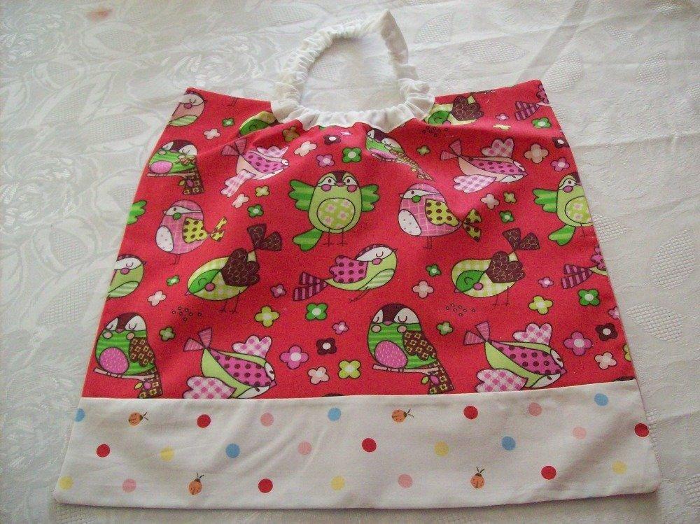 serviette de table  à élastique pour enfant,école maternelle ou cantine,imprimé oiseaux