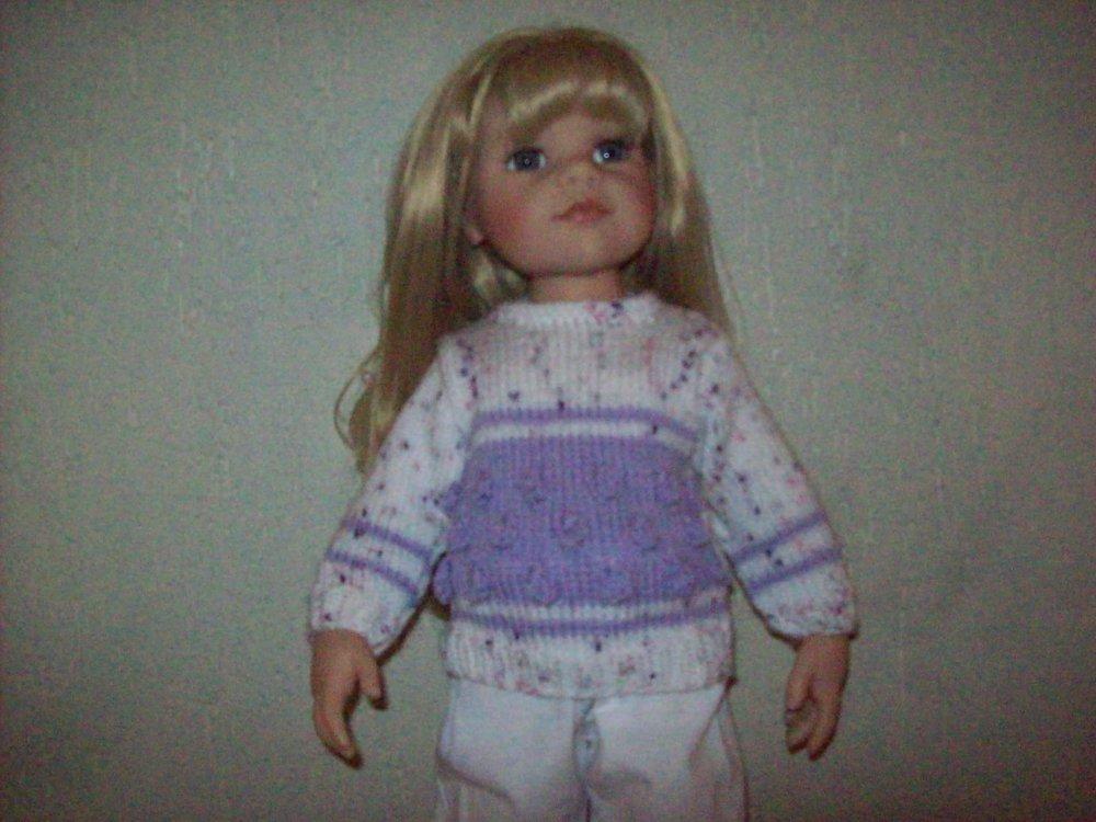 vêtement poupées de 50 cm convient aux gotz,maru and friend (pull en laine,fait main )