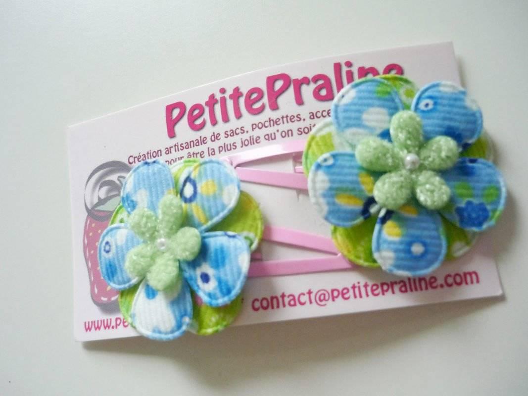 Barrettes petites fleurs en tissu vert et bleu coeur tout doux