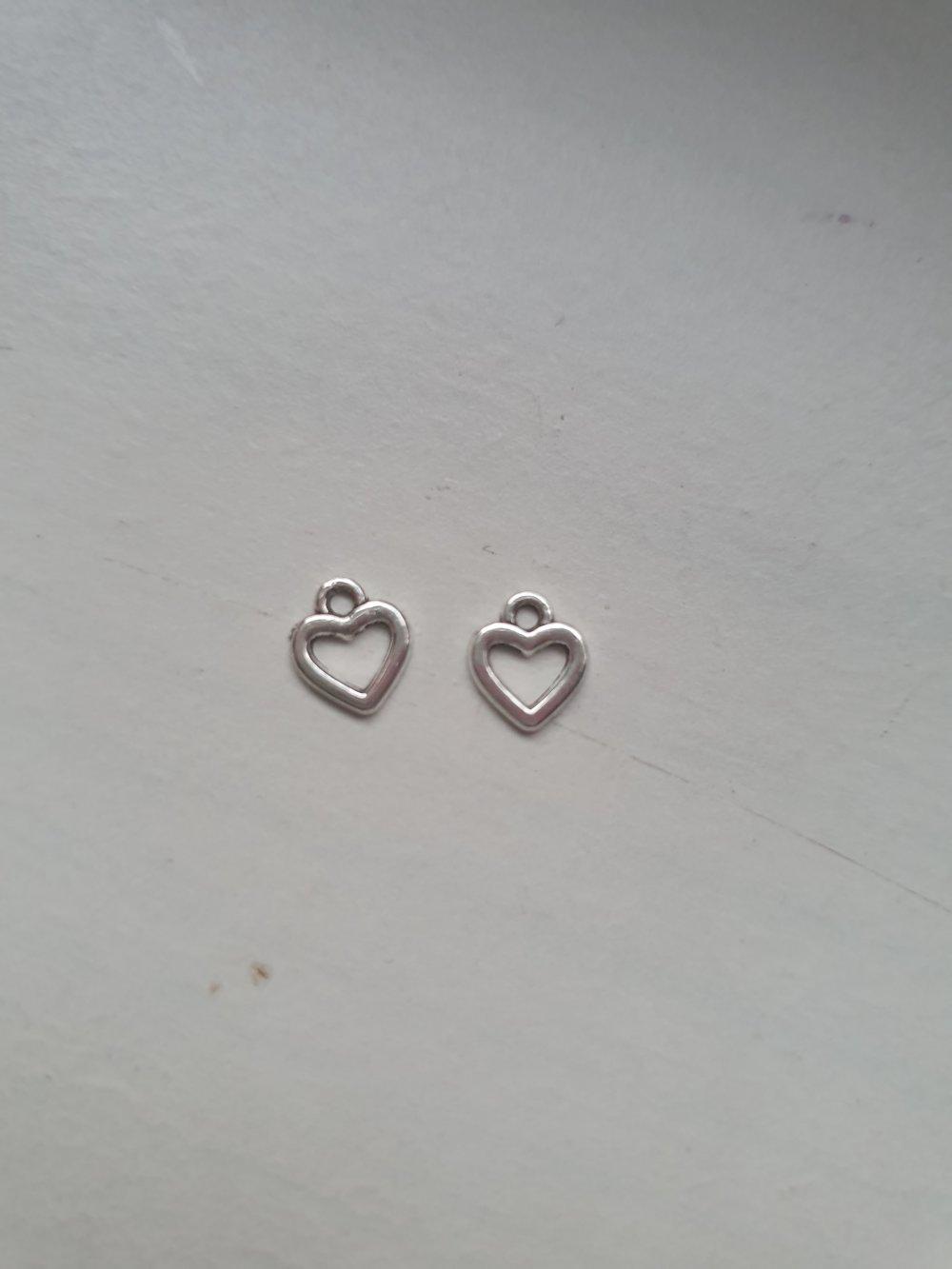 Lot de 2 breloques mini coeur