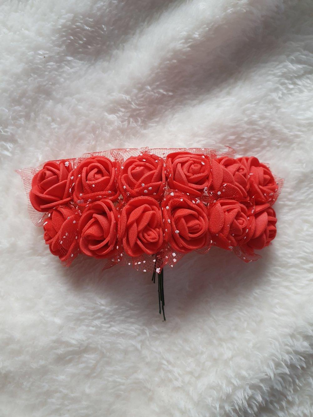 Lot de 12 roses mousses paillettes Rouge