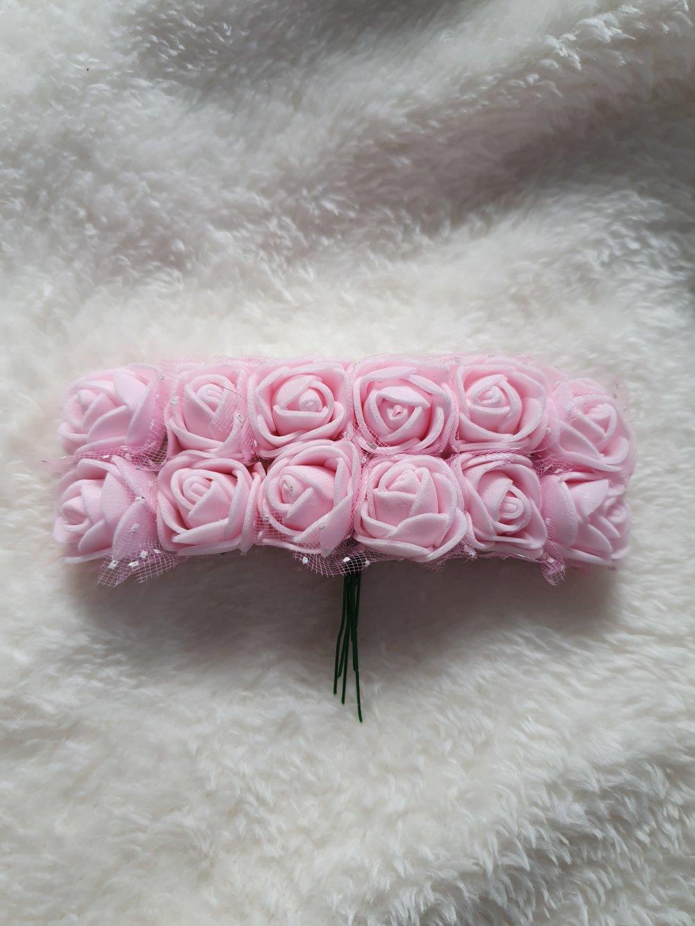 Lot de 12 roses mousses paillettes Rose clair