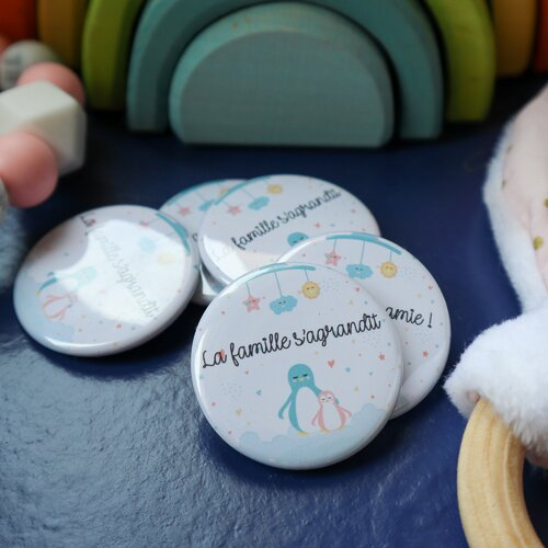Badge/magnet pingouin annonce grossesse