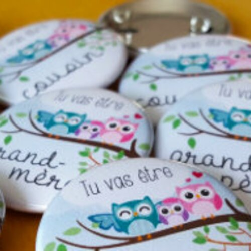 Badge/magnet chouette annonce grossesse