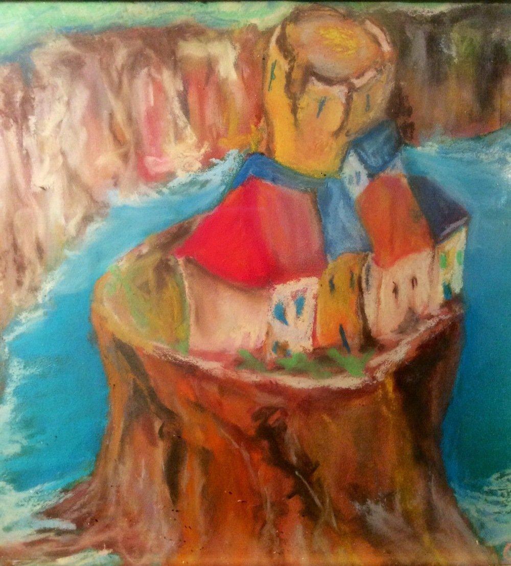 Un village solitaire : Reproduction d'une Peinture aux pastels