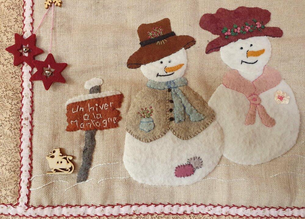 Patchwork kit Bonhommes de neige, feutrine, couture à la main et broderie pour ce kit