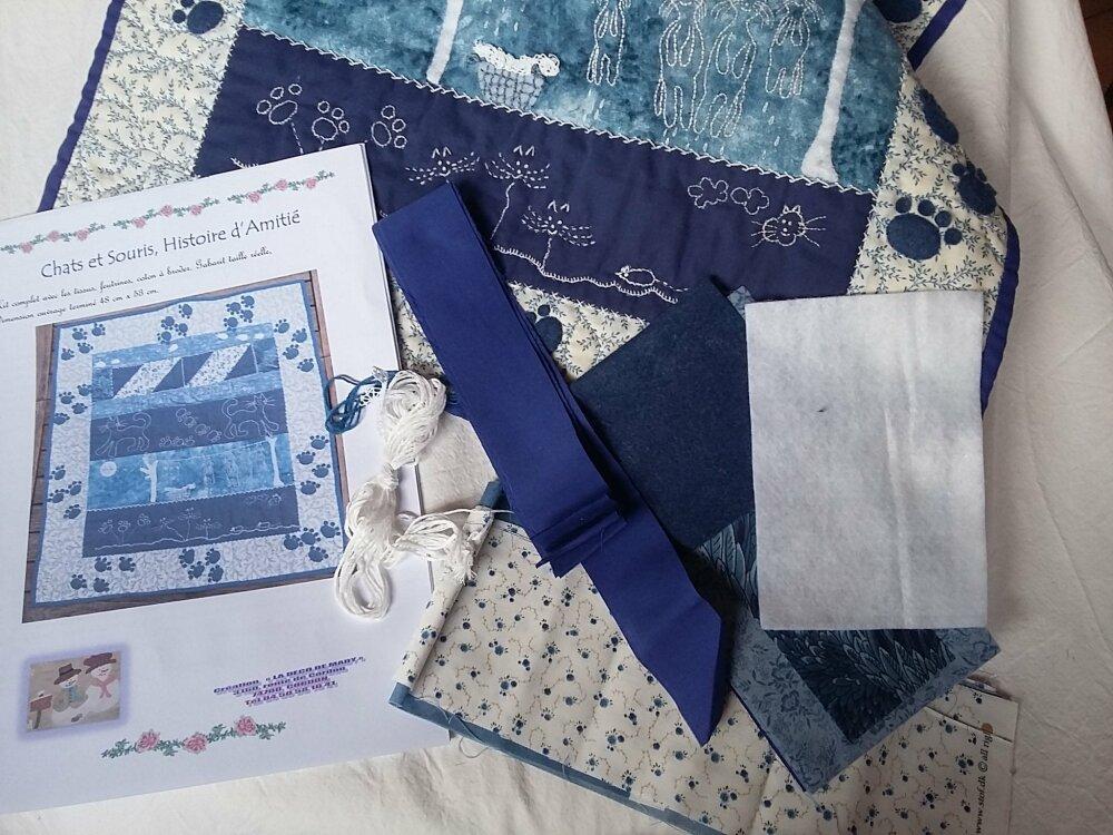 Patchwork Chats et Souris en kit broderies feutrine et tissus