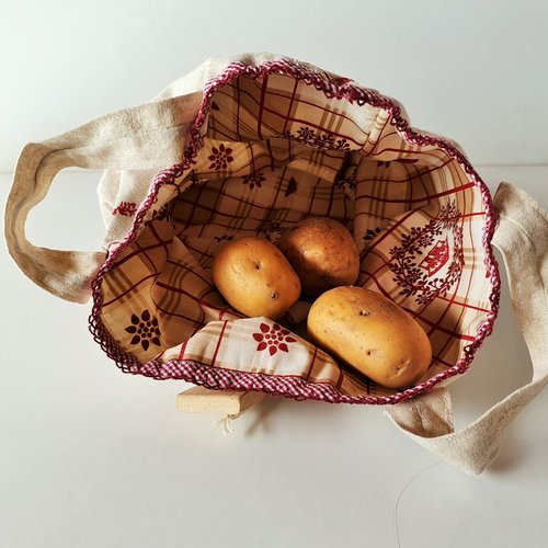 Sac à pommes de terre, panier  à patates, panière tissus, corbeille
