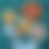 Patchwork, tableau tournesols, patchwork et fleurs, tableau décoratif tissus