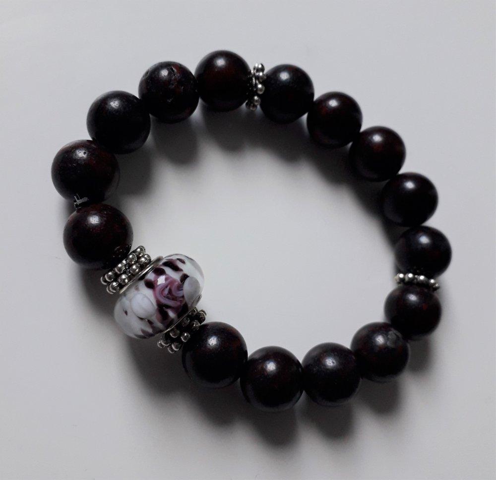 beau bracelet en pierre de sang et porcelaine