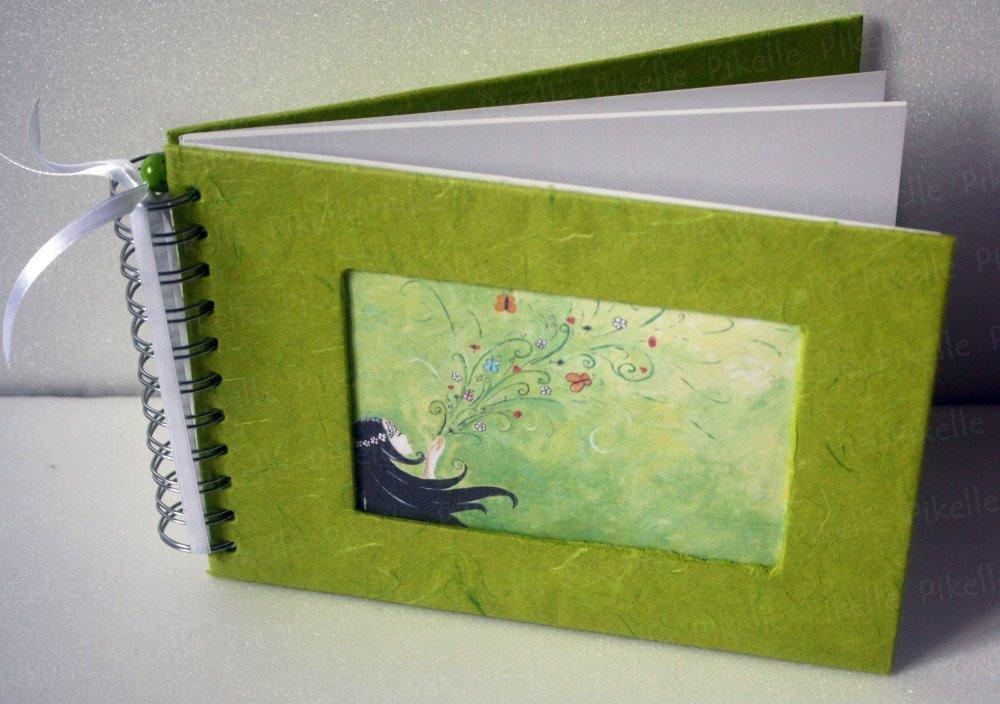 Carnet vierge féérique à spirale, carnet de voyage, album photo,livre d'or   fée verte