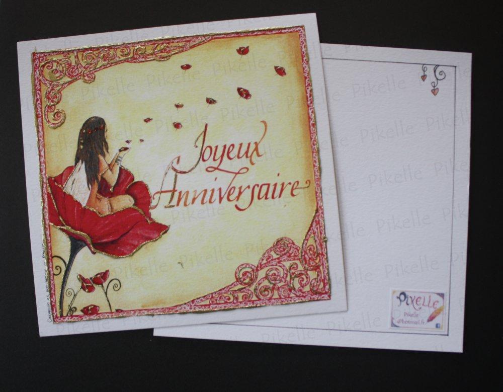 Carte d'anniversaire féerique fée coquelicot - Tesséli