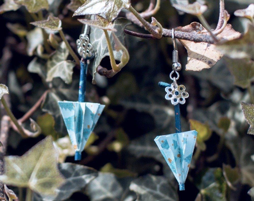 Parapluies en origami - boucles d'oreilles pendantes