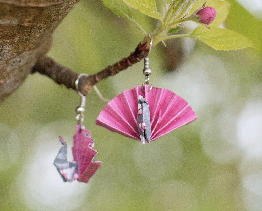 Paons - origami - boucles d'oreilles pendantes